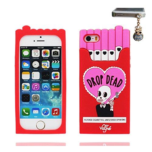 Hülle iPhone 5, iPhone 5S Case TPU 3D Cartoon Cigarette Holder Schädel Handyhülle iPhone SE 5s 5G 5C Cover Shell, haltbare weiche Skin Staub-Beleg-Kratzer beständig und Staubstecker