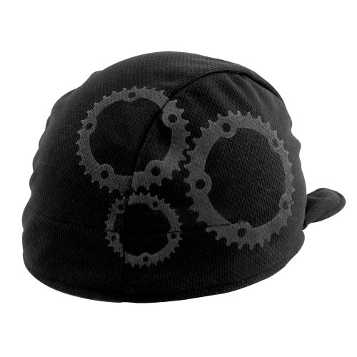 Headsweats Shorty Gears Performance Cycling Skull Cap, Black/Grey, One Size Fits All