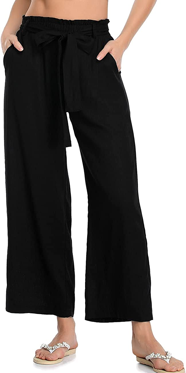 PEIQI Women Wide Leg Pants with Belt Ruffle High Waisted Soft Palazzo Pants with Pockets Casual Loose Flowy Linen Pants