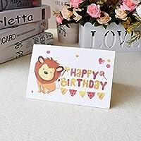 3D三次元のグリーティングカードバースデーカードの女の子の子供たちの子供たちの妻の夫の誕生日ケーキ挨拶カードギフトカードと封筒ステッカーポストカード (Color : Light Yellow)