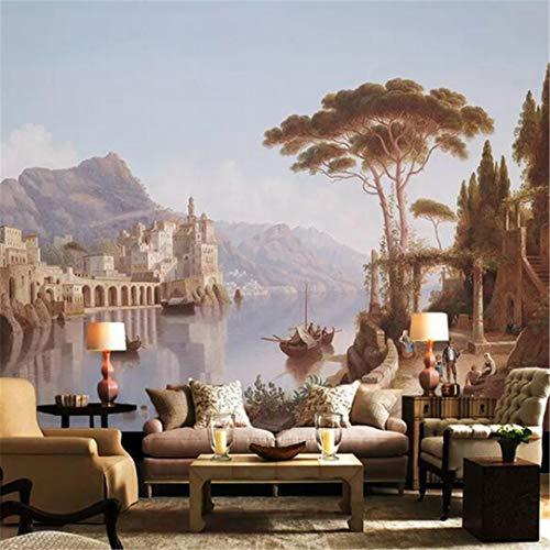 3D vliesbehang in Europese stijl, steden, landschap, schilderen, afbeelding, 3D-fotobehang, wandbehang, woonkamer, tv-wand, decoratie, vlies, waterdicht 200cm*140cm