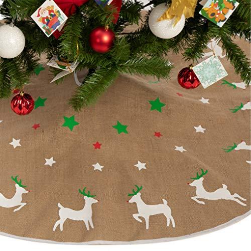 Burlap Reindeer Tree Skirt, Christmas Rustic Tree Skirt Decoration for Xmas Home Holiday Seasonal Decors (36-inch)