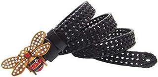Moda mujer hombre abalorios abalorios abeja hebilla cinturones Vintage Pu cuero tejido de punto de la cintura