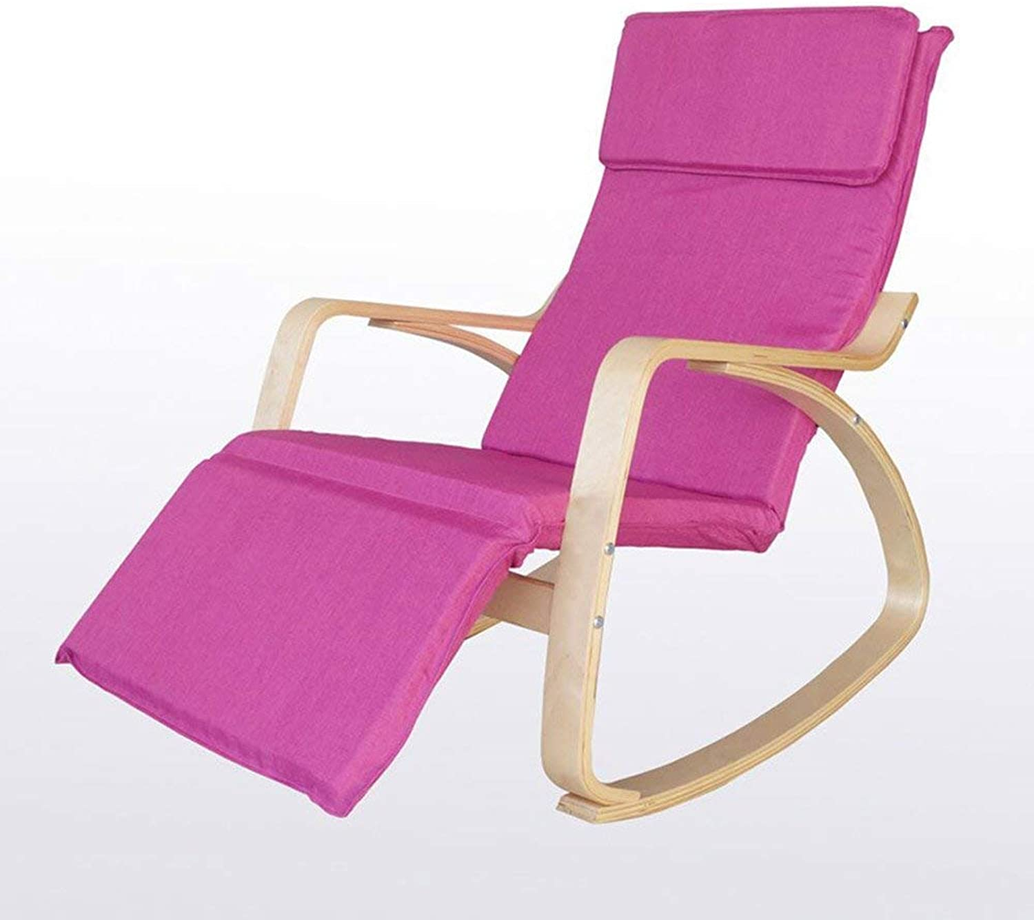 Rocking Chair Adult Balcony Recreational Sofa Nostalgic Chair North Europe Solid Wood Lazy Rocking Chair (color  Waterproof Pink)