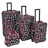 Rockland Fashion Softside Upright Luggage Set, Pink Giraffe, 4-Piece (14/19/24/28)