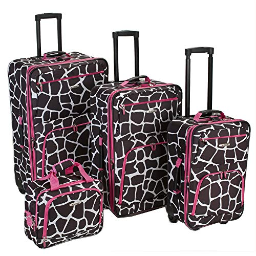 Rockland Fashion Softside Upright Luggage Set, Pink Giraffe, 4-Piece (14/20/24/28)