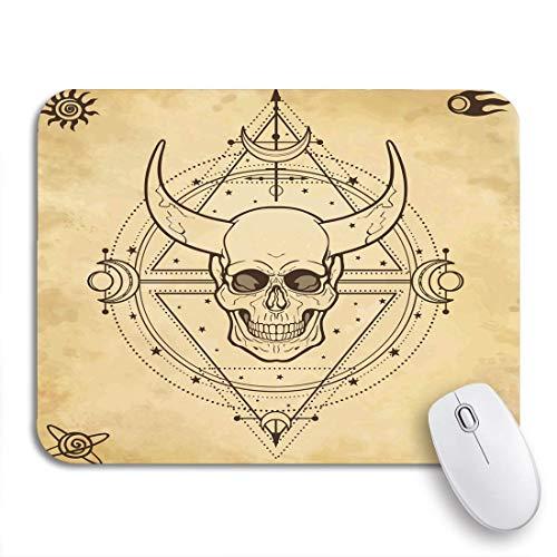 VICAFUCI Alfombrilla de rató Gaming,Dibujo Misterioso Cráneo con Cuernos Geometría Sagrada Símbolos...