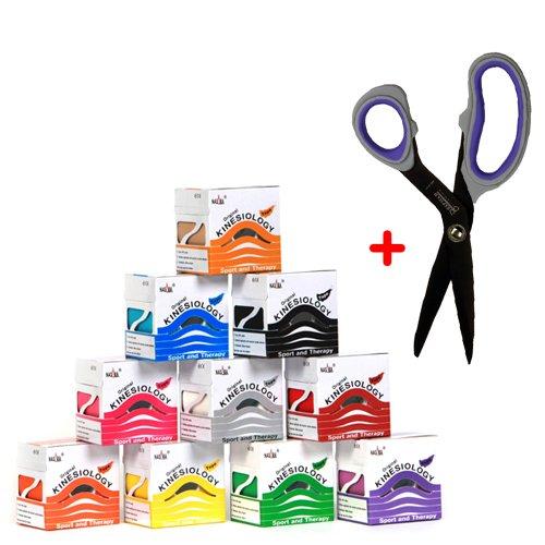 10x NASARA Kinesiologie Tape kinesiologische Tapes + BEXFIELD titaniumbeschichtete Spezial-Tape-Schere 10 Farben im Set 5m x 5cm
