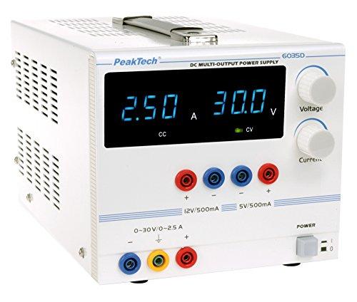 Peak Tech 3de canal Linear de geregeltes DC fuente de alimentación de laboratorio (0–30V/0–2,5A Regulable y 5/12V/0,5A fijo Voltaje con transformador de seguridad, 1pieza, P 6035D