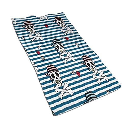 AOOEDM Toalla Deportiva para Yoga Toallas de baño 27.5x15.7 Pulgadas, Calavera Pirata y Diamantes, súper absorbentes Toallas de Mano de Secado rápido para Viajes de Playa Material de Microfibra para