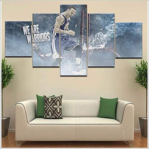 LTLH 5 Stuks Posters atleet Stephen Curry Splash Beeld Gedrukt Muur Art Room Decor Print Poster Canvas Schilderen