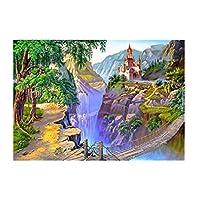 キャンバス上の数字に応じた大人のペイントカラー用の数字キットによるDIY油絵ペイント16x20インチ-ブラシ装飾付きの描画(フレームなし) 崖の上の城