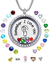 Best Niece Gift from Aunt Uncle,Remember I Love You Niece Floating Memory Living Charms Lockets, DIY Stainless Steel Birthstones Pendant Necklace for Girl