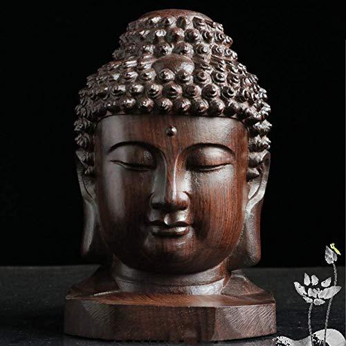 aasdf Zen Buddha Head Statue, Buddha Bust Sculpture Praying Hand Carved Figurine Meditation Ornament for Outdoor Indoor Sakyamuni 12x12x18cm
