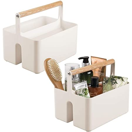couleur naturelle lot de 2 boite maquillage /él/égante mDesign rangement de salle de bain boite de rangement pratique avec 3 compartiments pour produits de soin de toutes sortes