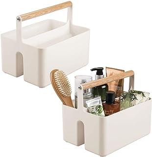 mDesign Set of 2 Under Sink Storage – Plastic and Wood Bathroom Caddy – Portable Cosmetics Storage Organiser – Beige/Natural