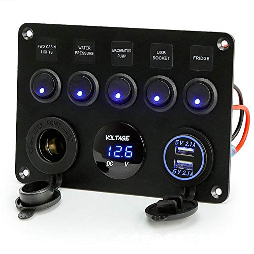 Toggle Rocker Switch Panel Dual USB Socket Charger 4.2A + LED Voltmeter + 12V Power Outlet + 5 Gang ON-Off Toggle Switch Multi-Functions Panel for RV Car Boat Vehicle Truck Yacht