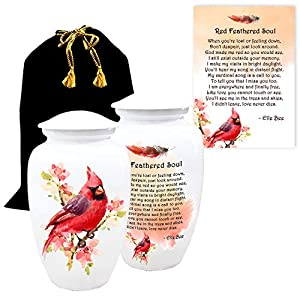 Lola Bella Gifts Aluminum Cardinal on Flowers Cremation Urn for Adult Human Ashes with Red Feathered Soul Poem Card Velvet Bag and Box Sympathy Grief Memorial Gift