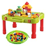 Minnebaby 3-in-1 Kids Activity Table, Compatible for Lego Duplo and Mega Blocks, Build and Learn Table, Building Blocks Kit - Foldable Activity Desk, Play Board, and Toy Storage for Toddlers