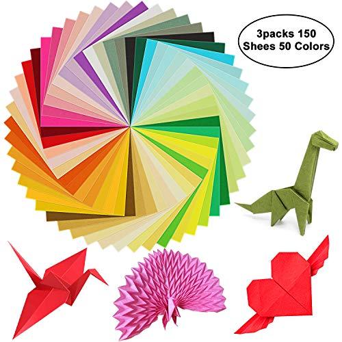 3 paquetes de papel para origami cuadrados de 150 hojas, de 6cm de doble cara, de...