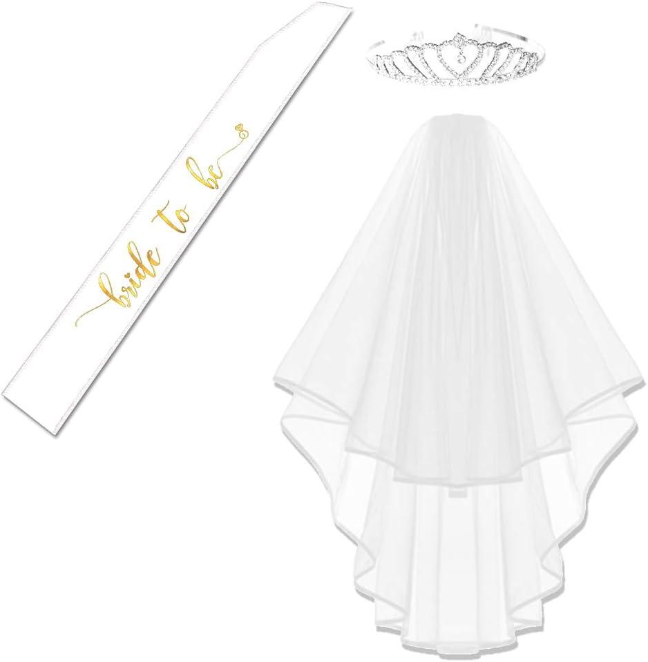 Gold Foil Bride to Be Satin Sash and Glitter Rhinestone Bride Tiara and White Double Ribbon Edge Center Cascade Veil with Comb Bachelorette Party (White Veil+White Gold Sash+Tiara)
