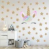 Adhesivo de pared 3D de unicornio, estrellas, corazones, cuento de hadas de vinilo extraíble resistente al agua DIY calcomanías de pared para recámara, muebles, decoración de papel pintado, 36 x 60 cm
