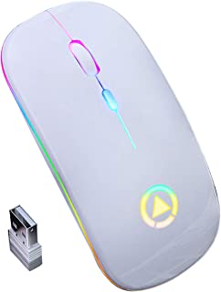HelloCreate Wireless Mouse,2.4GHz Wireless Optical Mouse with RGB Backlit USB Rechargeable for Laptop PC Computer Smart TV, 3 Adjustable DPI Speed
