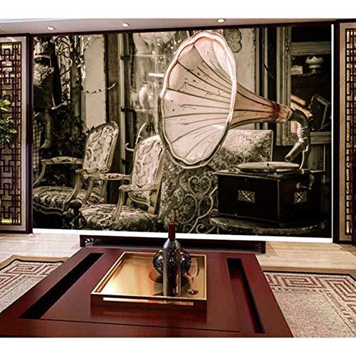 Hwhz Carta Da Parati Vintage Grammofono Foto Wallpaper MuraleSoggiorno 3D Camera Da Letto-400X280Cm