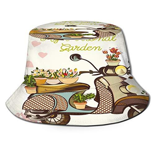 PUIO Fishing Hat,Cute Fashion Garden Illustration Bike Flowers,Hiking Boonie Safari Sun Caps Traveling for Men&Women for Outdoor Gardening