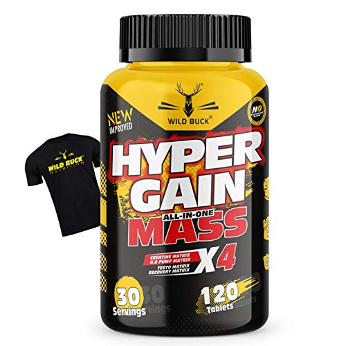 Wild Buck Hyper Gain Mass X4 For Increased Muscle Mass & Endurance Mass Gainer Improves Muscle Definition with Creatine Monohydrate & BCAAs, Supplement For Men & Women | 120 Tablets with Free T-shirt