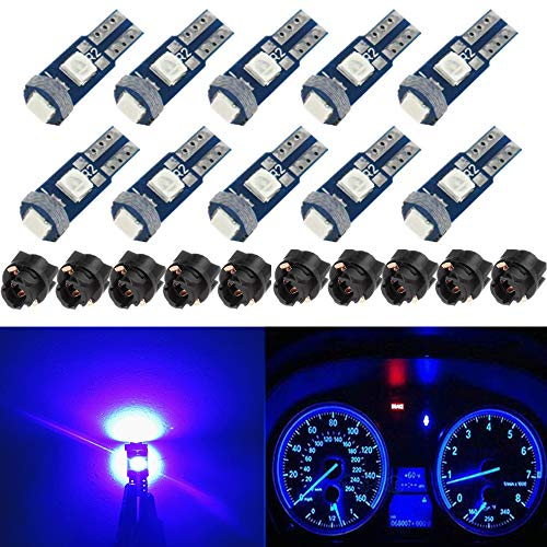 BlyilyB 10-Pack Blue T5 2721 37 74 Wedge Led Bulb PC74 Twist Sockets Replacement Dash Dashboard Lights Instrument Panel Cluster LEDS Lamps