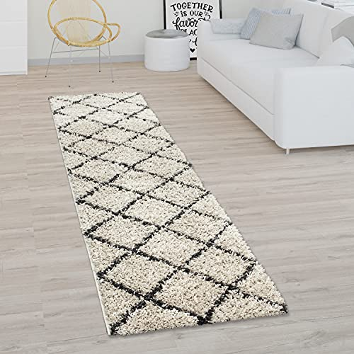 Alfombra Pelo Largo Shaggy para Salón Diseño Escandinavo Motivo Rombos En Beige, tamaño:140x200 cm