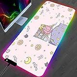 YEE RGB Anime Pink Sailor Moon Mouse Pad Gamer PC Ordenador Alfombra Estera Estera Teclado Gaming Accesorios Chica Mousepad 800x300mm (Size : 800x300mm)