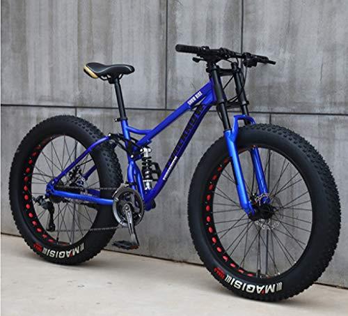 Fahrrad für Jugendliche und Erwachsene, Mountainbike, Rahmen aus Karbonstahl, Federung mit doppeltem Schwanz, mechanische Scheibenbremse, 24 / 26 Zoll, blau, 26 inch 7 speed