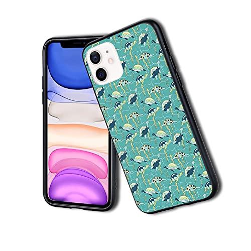 Composizione subacquea della fauna selvatica con oceano ondulato e animali colorati con conchiglie, custodia per iPhone, antiurto antiurto a doppio strato