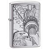 """Personalized Free Laser Engraving Custom Message Engrave up to 5 lines. Genuine Zippo windproof lighter with distinctive Zippo """"click"""" Made in USA; lifetime guarantee that """"it works or we fix it free"""" All metal construction; windproof design works vi..."""