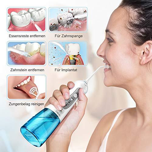 Irrigador Bucal Portátil de 300ml iTeknic Irrigador Dental Portátil Profesional USB Recargable con 3 Modos 4 Boquillas Impermeable IPX7 para Higiene Dental Limpieza Dental Ideal para Viaje