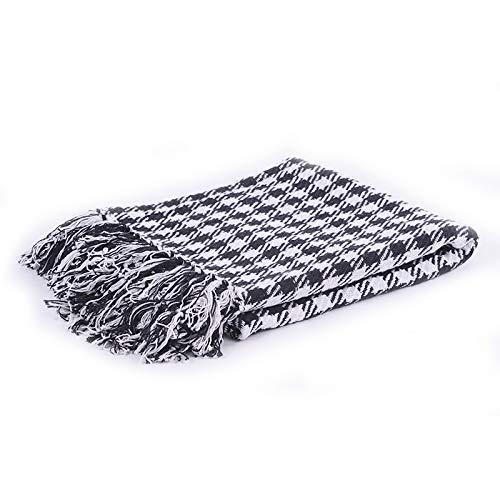 Homevibes Manta para Sofa con Flecos 100% Algodon Varios Modelos, Manta para Comedor, Manta con Flecos, Medidas 125x150cm (Negro y Blanco)