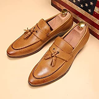 Men Oxford Shoes Casual Leather Business Shoes Black Brown Slip on Dress Shoes(Brown,Size 7.5 / 250mm)