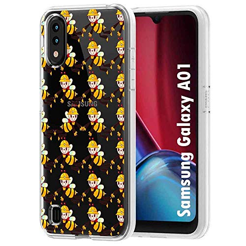 TalkingCase Clear TPU Phone Case for Samsung Galaxy A01,Helper Bees Print,Light Weight,Ultra Flexible,Soft Touch,Anti-Scratch,Designed in USA