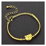 DSJTCH Vietnam SHA Oro latón Chapado en Oro Collar Anillo Puntero Mujeres Tres joyería Conjunto Accesorios (Color : B)