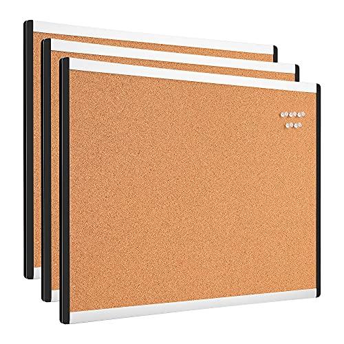 Amazon Basics Tableau en liège, 43,2 cm x 58,4 cm, Cadre en aluminium/plastique, Lot de 3