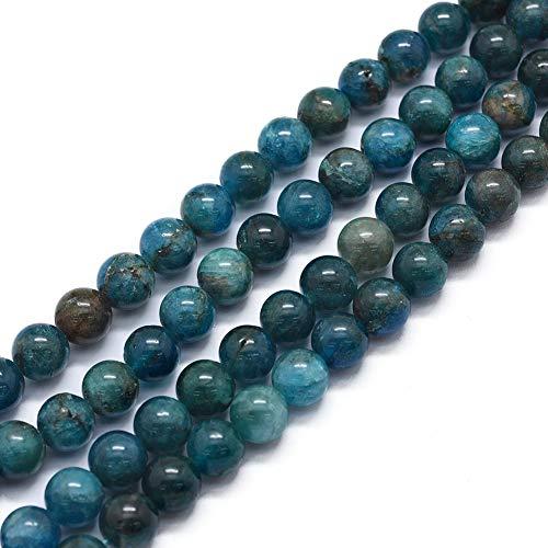 Cheriswelry 1 hebras de cuentas de apatita natural de 6 mm con espaciadores de bolas redondas de piedras preciosas para joyas, collares, pulseras