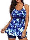 Plus Size Tankini Bathing Suits for Women Two Piece Swimsuits Boyshorts Swimming Suit Tummy Control Athletic Swimwear Blue&White 18-20