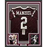 Framed Autographed/Signed Johnny Manziel 33x42 Texas A&M Aggies Maroon College Football Jersey JSA COA