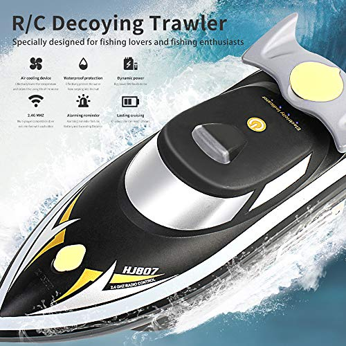 Cigooxm RC Fishing Boat 2.4G Bait RC Boat Decoying Trawler Air Cooling Waterproof Never Capsize 2 in 1 Smart RC High Speed Boat with Backpack
