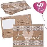 WeddingTree 50 Ballonkarten Hochzeit Vintage - Postkarten Design Vintage - Ballonflugkarten für Hochzeit - Extra leicht für langen Flug - Gelocht