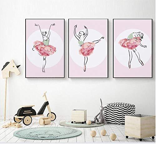 QZROOM Wandkunst-Poster Romantische abstrakte Balletttänzerin Rose Flower Paintings Wohnzimmerdekoration Leinwanddrucke, 40x60cmx3 ohne Rahmen