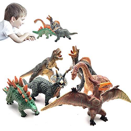 "KELIWOW Dinosaur Toys for Boys - 6 PCS 13"" Big Soft PVC Dinosaur Figures - T Rex Triceratops Spinosaurus Stegosaurus Brachiosaurus Pterosaur - for Toddlers Kids Aged 3 +"