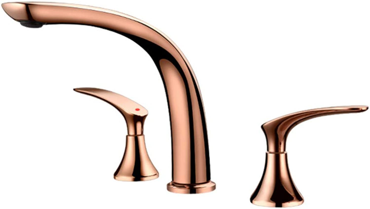 PajCzh Sink Bathroom Sink Taps golden Three-Hole Split Basin Mixer Full Copper Three-Piece Hot And Cold Wash Basin Bathtub Side Faucet B